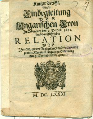 Az 1681-es nyomtatvány címlapja