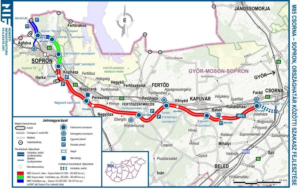 soproni elkerülő út nyomvonal térkép M85: Nyár végén kezdhetnek   Soproni Téma